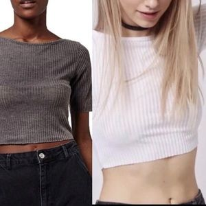 2 piece Topshop ribbed crop tops gray white 6-8 NWT bundle short sleeve